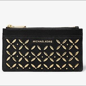 Michael Kors Embellished Large Suede Card Case